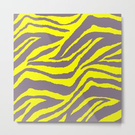 Animal Print Zebra Yellow and Gray Pattern Metal Print