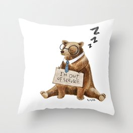 Sleepy bear Throw Pillow