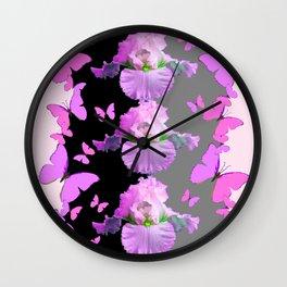 LILAC-PINK BUTTERFLIES & PASTEL IRIS MODERN ART Wall Clock