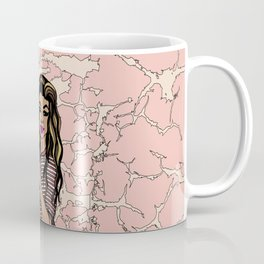 Peace Out & Bleed Maroon, Black Female Throwing Dueces Illustration Coffee Mug