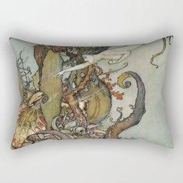The Little Mermaid, Vintage Art Nouveau Illustration Rectangular Pillow