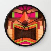 tiki Wall Clocks featuring Tiki by Cimone Key
