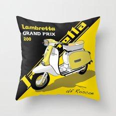 Yellow & Black Lambretta Scooter Throw Pillow