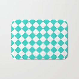 Diamonds - White and Turquoise Bath Mat