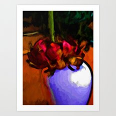 Dying Flower of Red and Green Art Print