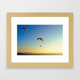 two paragliders in the sky Framed Art Print