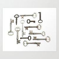 Vintage Key Collection Art Print