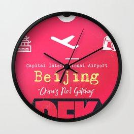 PEK Beijing airport code Wall Clock
