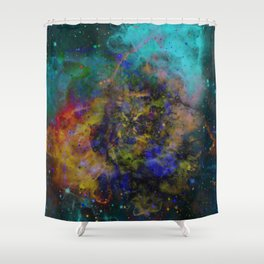 Evolving Space - Abstract, outer space painting Shower Curtain