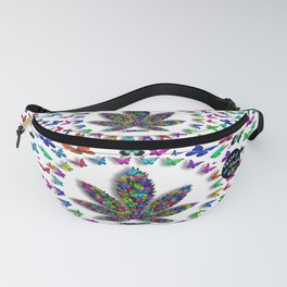Butterflies Cannabis Leaf 3 Fanny Pack