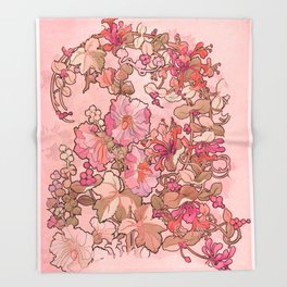 "Alphonse Mucha ""Printed textile design with hollyhocks in foreground"" (edited red) Throw Blanket"
