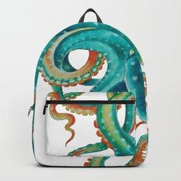 Octopus Tentacles Teal Green Watercolor Art Backpack