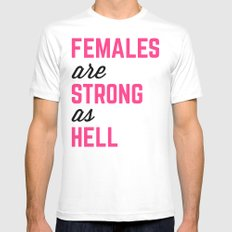 Females Strong Hell Gym Quote White Mens Fitted Tee MEDIUM