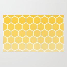 Bright yellow gradient honey comb pattern Rug