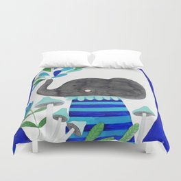 elephant with raindrops in blue watercolor illustration Duvet Cover