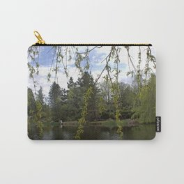 Soft willow tree branches by water pond in a garden.  Carry-All Pouch
