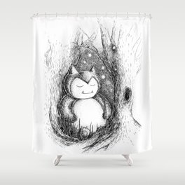Snoozy Snorlax Shower Curtain