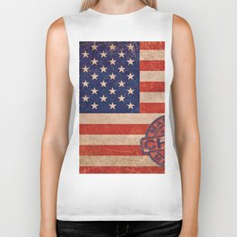 American Flag America USA US United States of America Patriotic Red White Blue Made In China Biker Tank