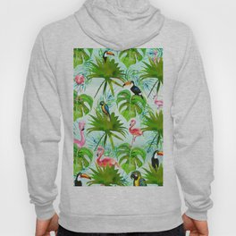 Tropical green pink colorful birds watercolor floral Hoody