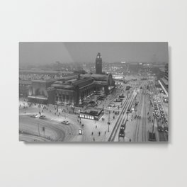 Finland City (Black and White) Metal Print