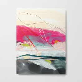 abstract landscape with pink sky over white cloud mountain Metal Print