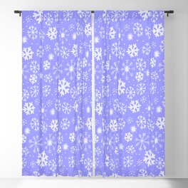 Snowflake Snowstorm In Sky Blue Blackout Curtain