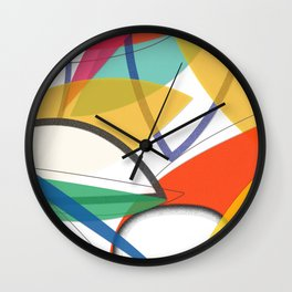 Contemporary composition of multicolored abstract flowers, superposition of geometric shapes Wall Clock