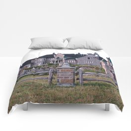 Stone Mansion on the River Comforters