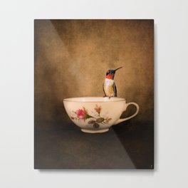 Tea Time With A Hummingbird 2 Metal Print