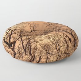 Naked trees, orange cloudy sky Floor Pillow