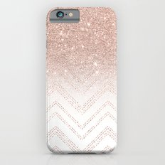 Modern faux rose gold glitter ombre modern chevron stitches pattern iPhone 6s Slim Case