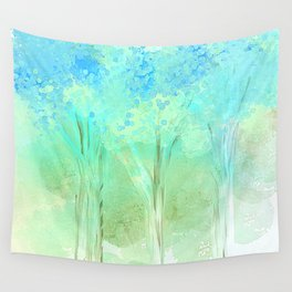 Trees in Blue Wall Tapestry