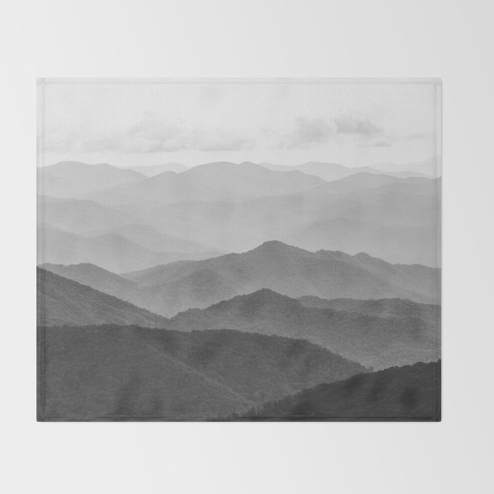 Forest Fade - Black and White Landscape Nature Photography Throw Blanket