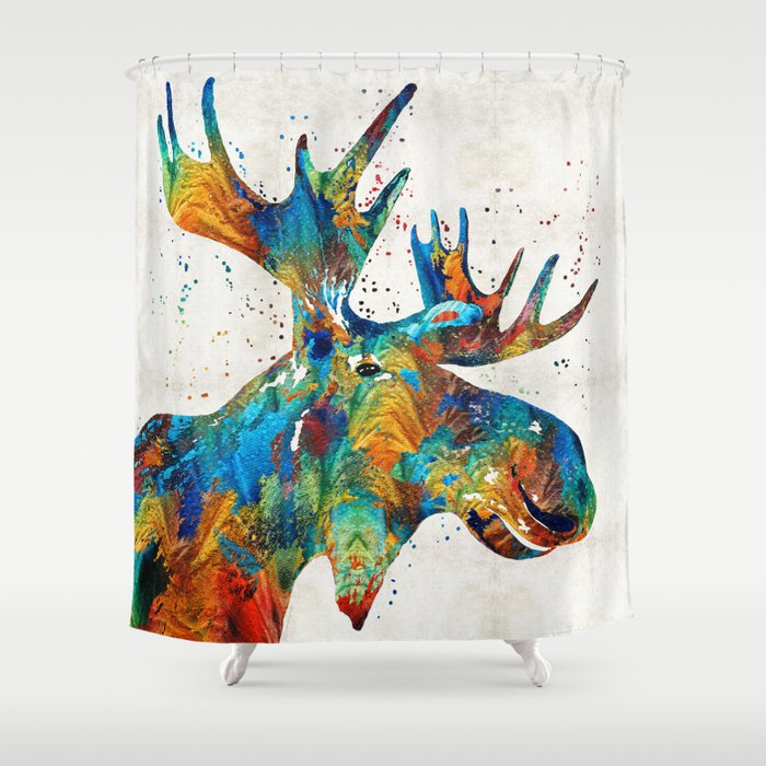 Colorful moose art confetti by sharon cummings shower Colorful shower curtains