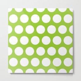 Big polka dots on yellow green Metal Print