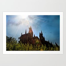 Flare over Hogwarts Art Print