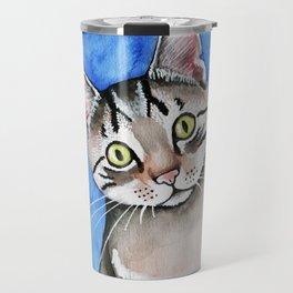 meow? // watercolor tabby cat portrait Travel Mug