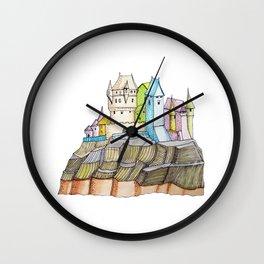 fairytale castle on a cliff Wall Clock