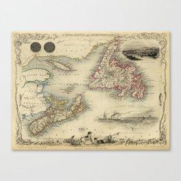 Map of Newfoundland 1851 Canvas Print