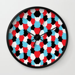 Catchy Artistic Pattern from Brush Blots in Black, White, Red and Blue Wall Clock