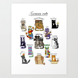 Science cats. History of great discoveries. Schrödinger cat, Einstein. Physics, chemistry etc Art Print