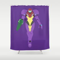 samus Shower Curtains featuring Samus(Smash)Gravity Suit by ejgomez
