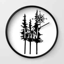 PNW Trees & Compass Wall Clock