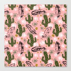 Desert pattern nature and feathers Canvas Print