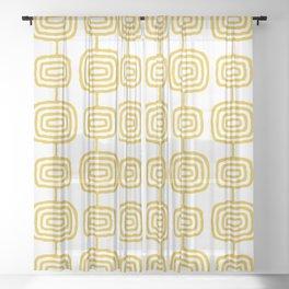 Mid Century Modern Atomic Rings Pattern Mustard Yellow 3 Sheer Curtain
