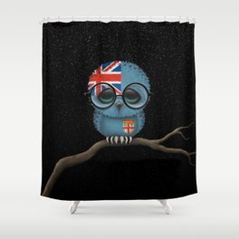 Baby Owl with Glasses and Fiji Flag Shower Curtain