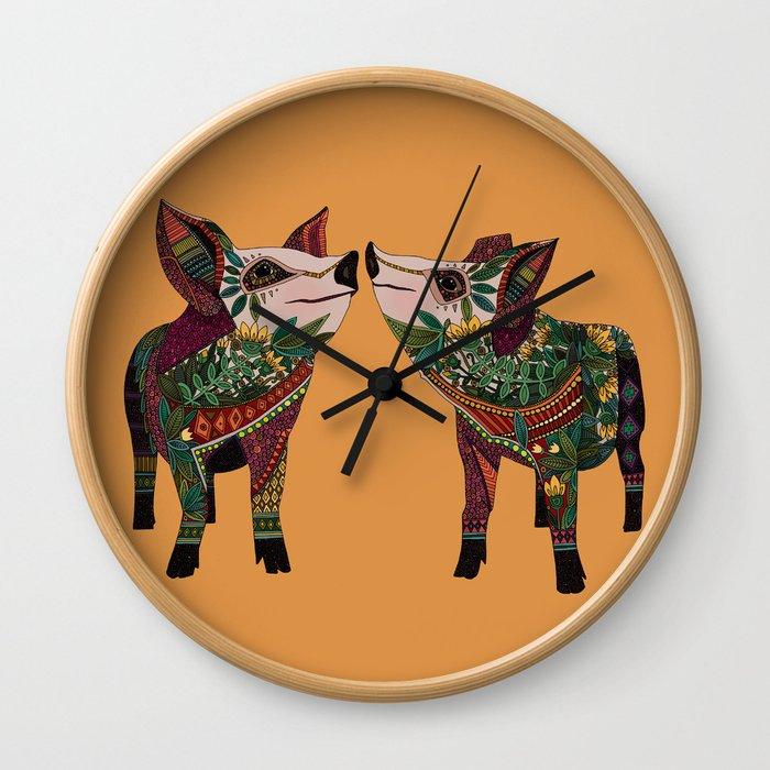 pig love amber Wall Clock