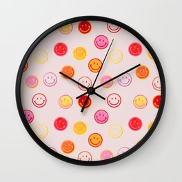 Smiling Faces Pattern Wall Clock