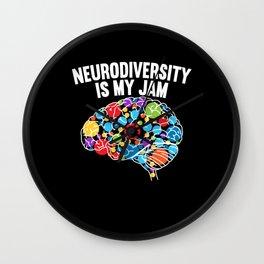 Neurodiversity Is My Jam Rainbow Brain Autism ADHD Wall Clock