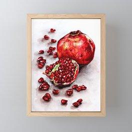 Red pomegranate watercolor art painting Framed Mini Art Print